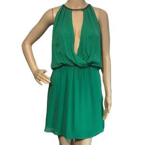 Parker Chain Silk Dress Green Keyhole Plunge M